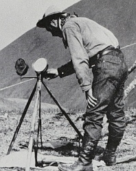 Closeup of heliograph in use