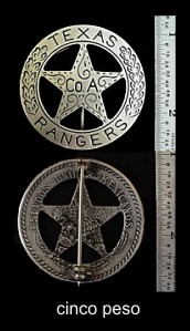 Front and back of original Texas Ranger badge for Company A